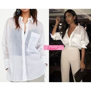 Zara Striped Shirt With Sheer Detail Button-Up M